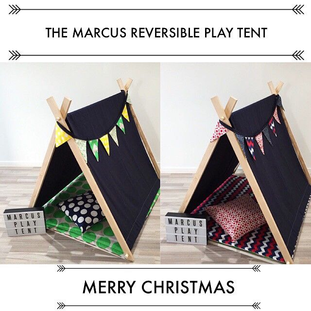 Play tent with reversible mat, bunting & cushion means twice as fun!