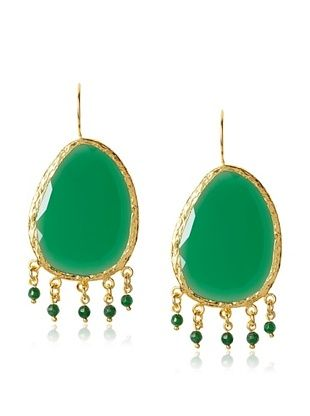 60% OFF Grand Bazaar Green Onyx Charm Earrings