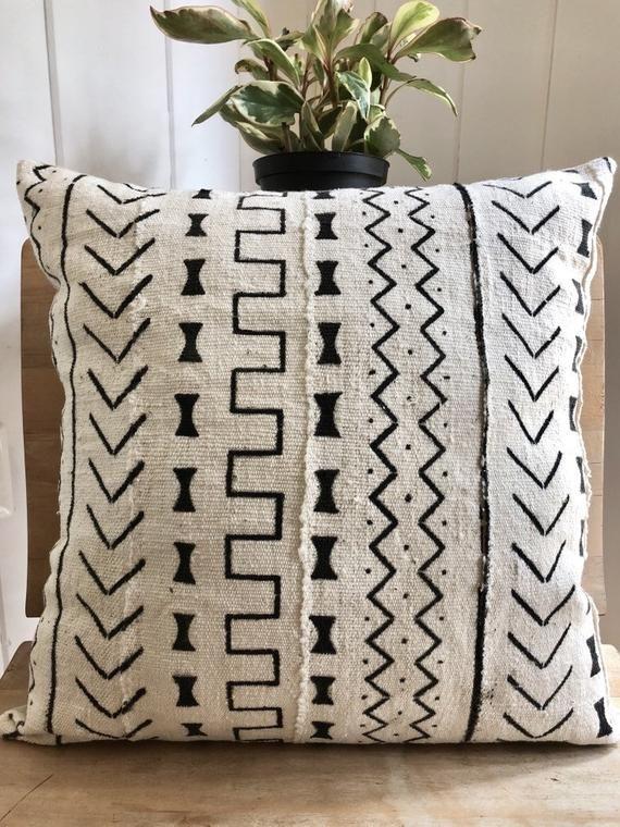 African Mudcloth Pillow Sham Mali Mudcloth Textured Fabric Black Cream Geometric Tribal Print African Mudcloth Pillow African Mud Cloth Mud Cloth