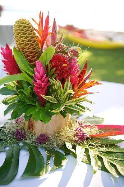 Resultado de imagem para arranjo de mesa para almoço tropical