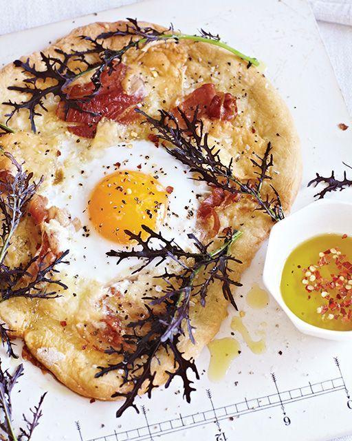 Ohhhh emmmmm geeeeee! Duck Egg, Asiago & Pancetta Pizza Recipe from Sweet Paul Magazine