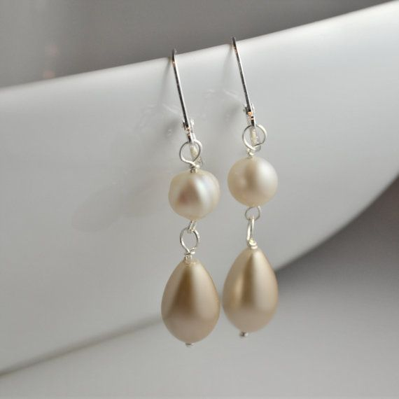 champagne pearl earrings, feminine earrings, chandelier earrings, café au lait cream pear pearls, in style, inspired by Charlize Theron