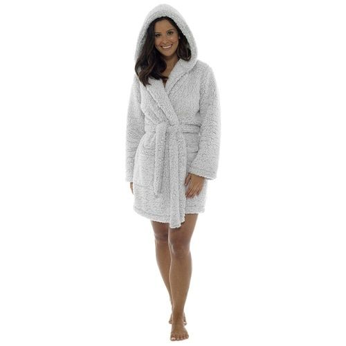 Ladies Marshmallow Sherpa Fleece Hooded Short Bath Robe  Grey ... 054590407
