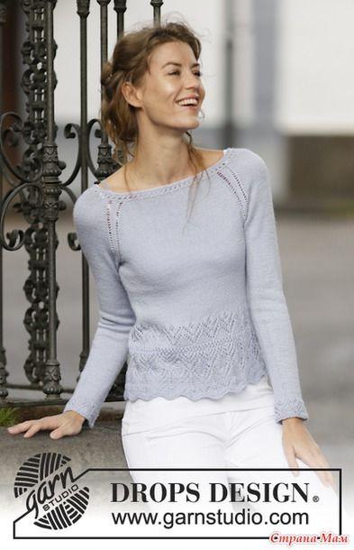 Женственный джемпер спицами, выполненный из пряжи на основе шерсти альпаки с добавлением шелка. Вязание женского джемпера осуществляется по кругу от нижнего края.