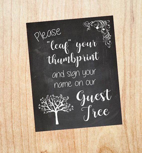 Leaf your print sign wedding guest tree sign PRINTABLE instant