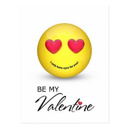 #Be My Valentine Emoji with Heart Eyes - Postcard - #emoji #emojis #smiley #smilies