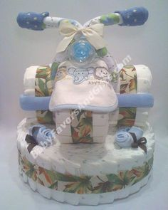 Organic tricycle diaper cake, unique baby shower gift