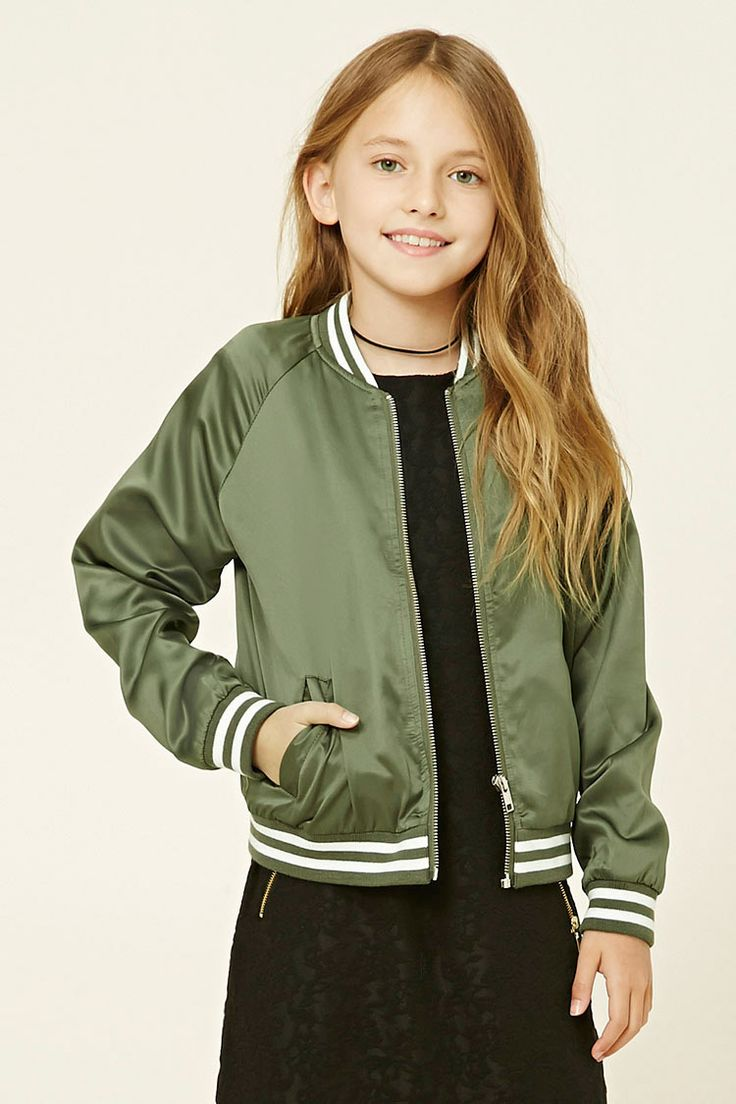 Forever 21 Girls - A varsity jacket featuring a sheeny design, two front slit pockets, long sleeves, a zippered front, and striped ribbed trim.