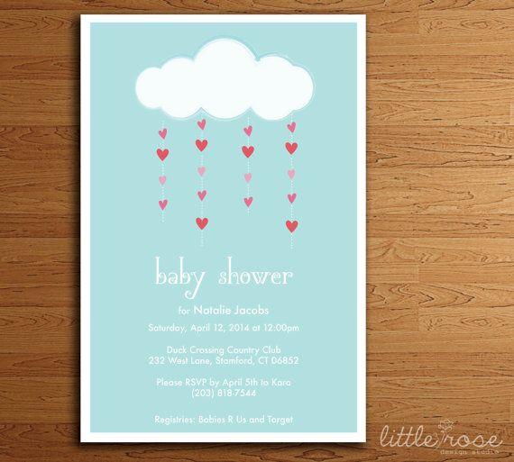 Rain Cloud Baby Shower Invitation, Simple Baby Shower Invite, Unisex Baby Shower, Gender Neutral Shower, Printable Invitation on Etsy, $10.00