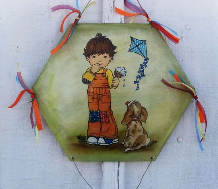 Sarah Kay Painting - Icecream (WOODEN KITE) Ξύλινος Χαρταετός, Sarah Kay - Aγόρι