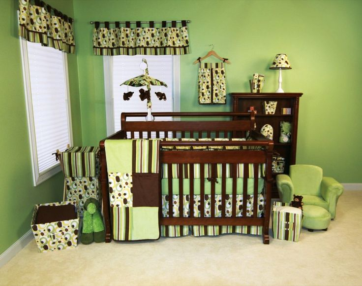 Baby Nursery, Captivating Baby Room Themes For Boys With Green Wall Paint Color And Brown Furniture Set Also Polka Dot And Stripes Prints For The Linens: Cool Baby Room Themes for Boys and Twins