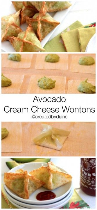 avocado cream cheese wontons @createdbydiane #avocado #appetizer