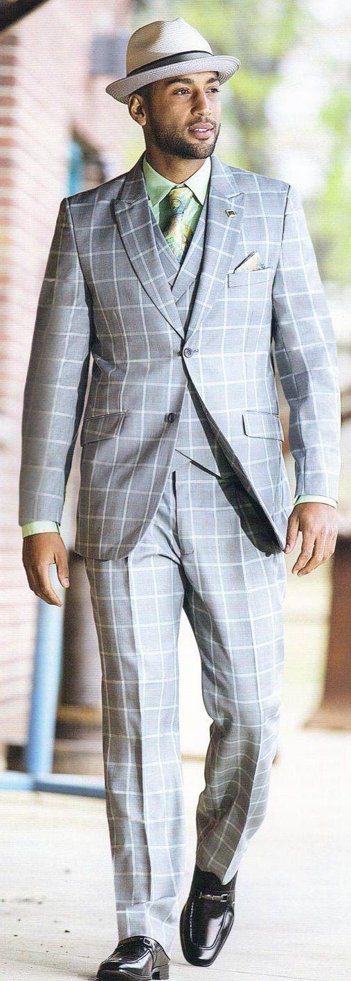 Stacy Adams Gray Windowpane 3 Piece Fashion Suit 3858-021