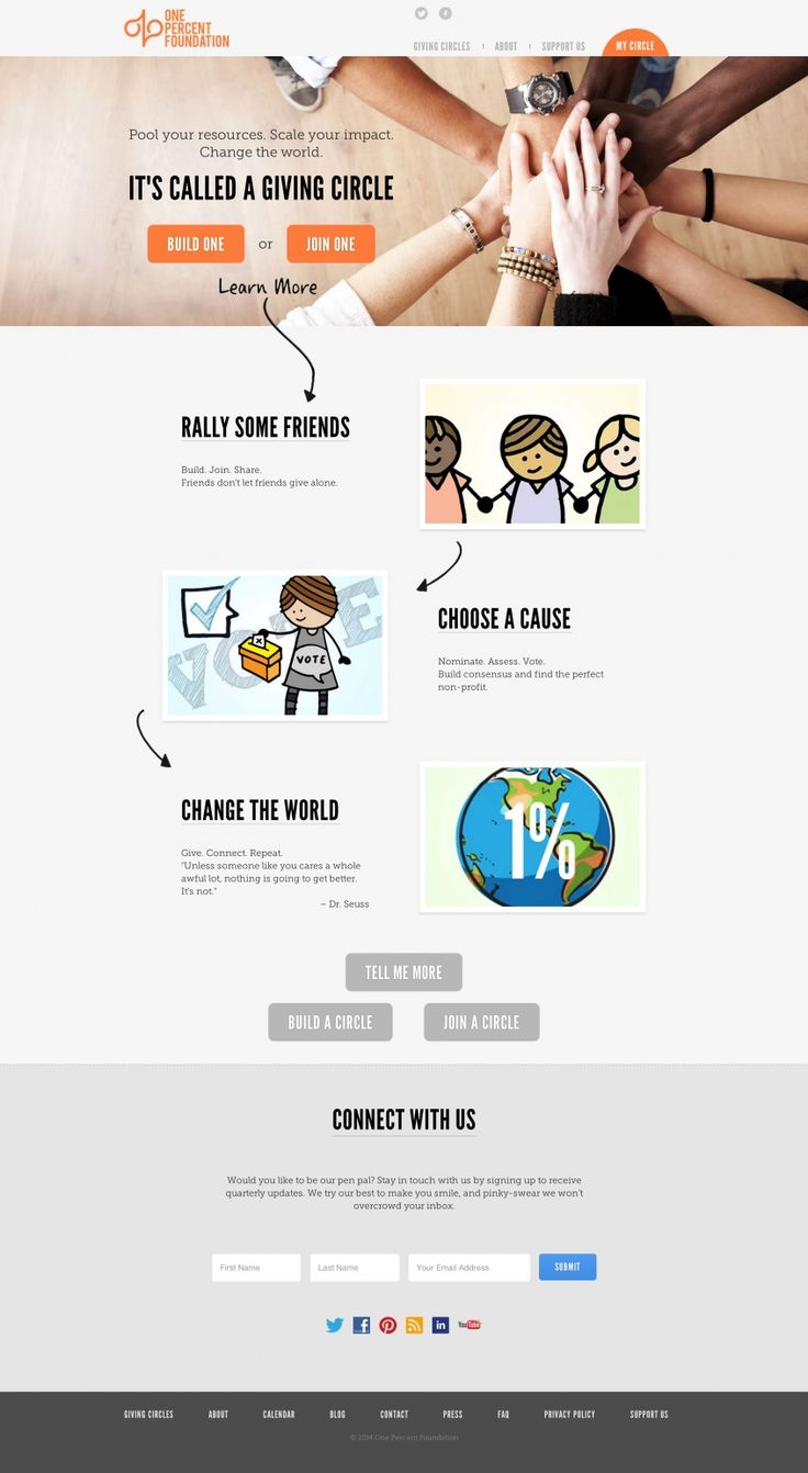 Screenshot of Bootstrap site: One Percent Foundation