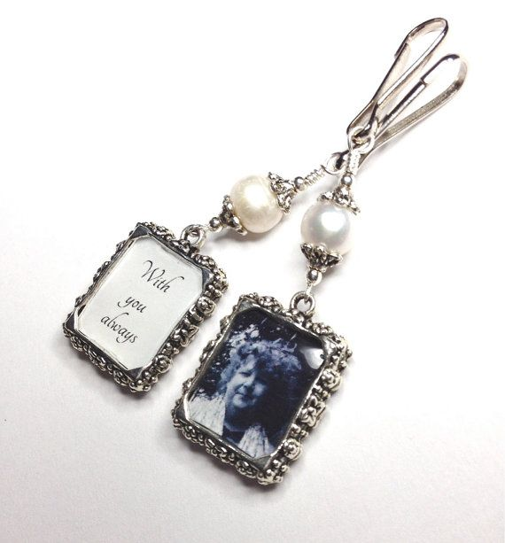 Now here's a thoughtful bridal shower gift!  2 sided Wedding bouquet photo charm. DIY or I do photos by SmilingBlueDog