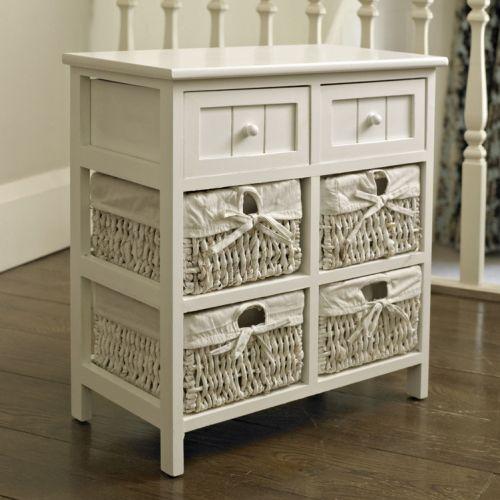 white storage unit 4 baskets 2 drawers white wicker. Black Bedroom Furniture Sets. Home Design Ideas