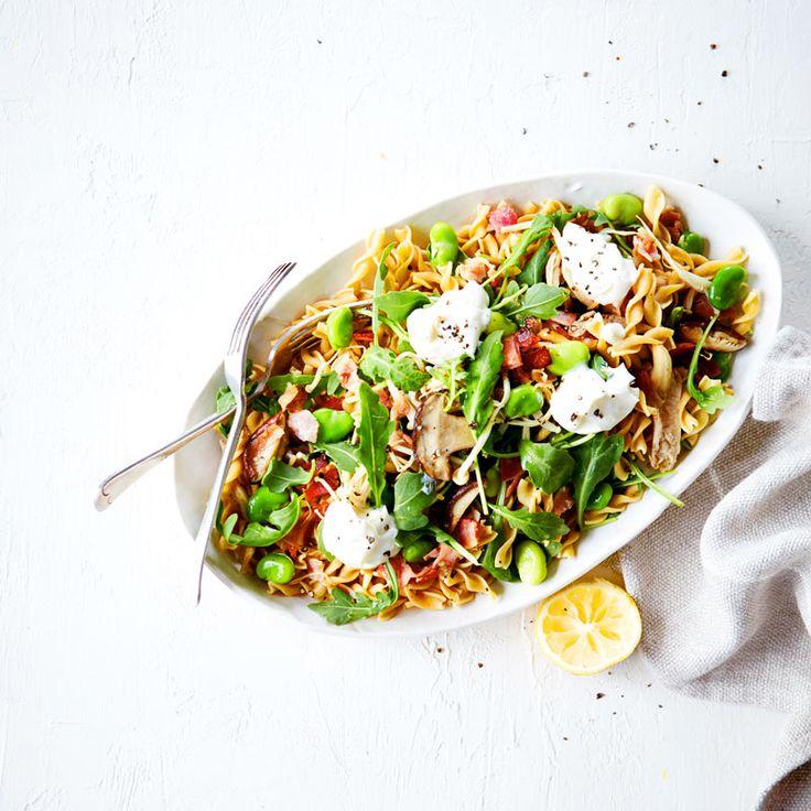 Mixed mushroom, pancetta, broad bean and rocket pasta Recipe | Weight Watchers NZ