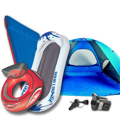 Looking at 'World Famous Beach Bum Package #2- Beach Cabana, Double Air Mattress, Swim Tube, Aqua Lounge, and Battery Air Pump' on SHOP.CA