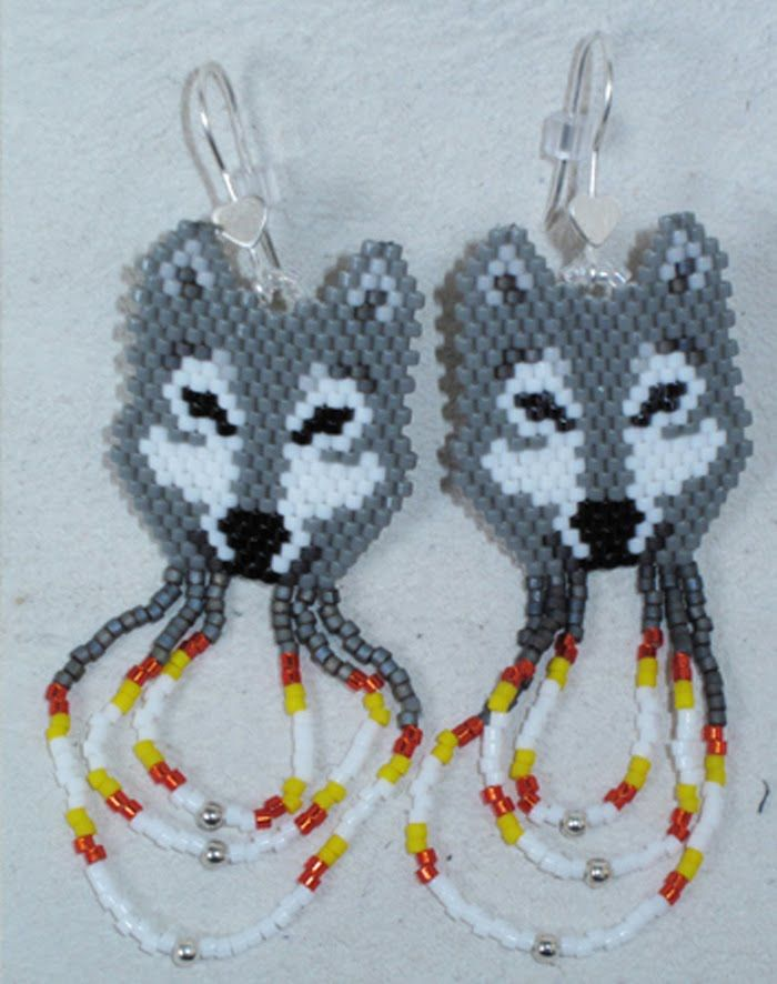Native beading patterns | Beaded Wolf Earrings at theBeastMark. $25 get them here .