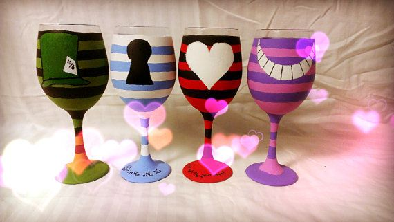Alice in Wonderland inspired hand painted wine by AWhimsicalHoot, $60.00