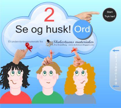 """Smart Notebook-lektion fra www.skolestuen.dk - """"Se og husk 2 - Kims-leg med ord"""" - Træn læsning, hukommelse og samarbejde med en ny omgang Kims-leg. Denne gang med fokus på ord."""