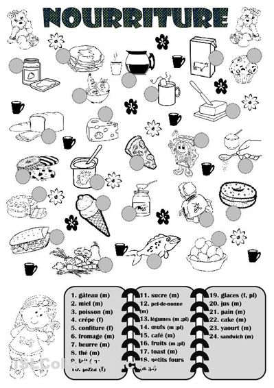 French food vocabulary worksheet.
