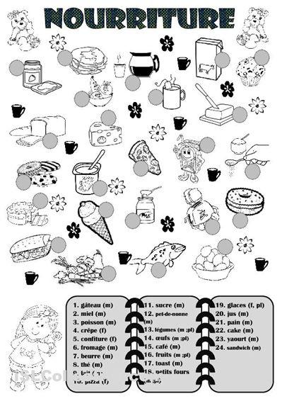 Fiche d'activité utile pour enseigner la nourriture. Ça servirait d'outil lors…