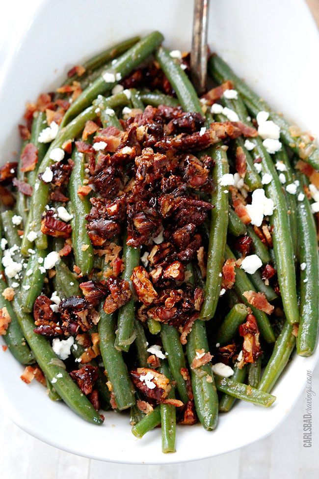 Dijon Maple Green Beans with Caramelized Pecans, Bacon and Feta!!