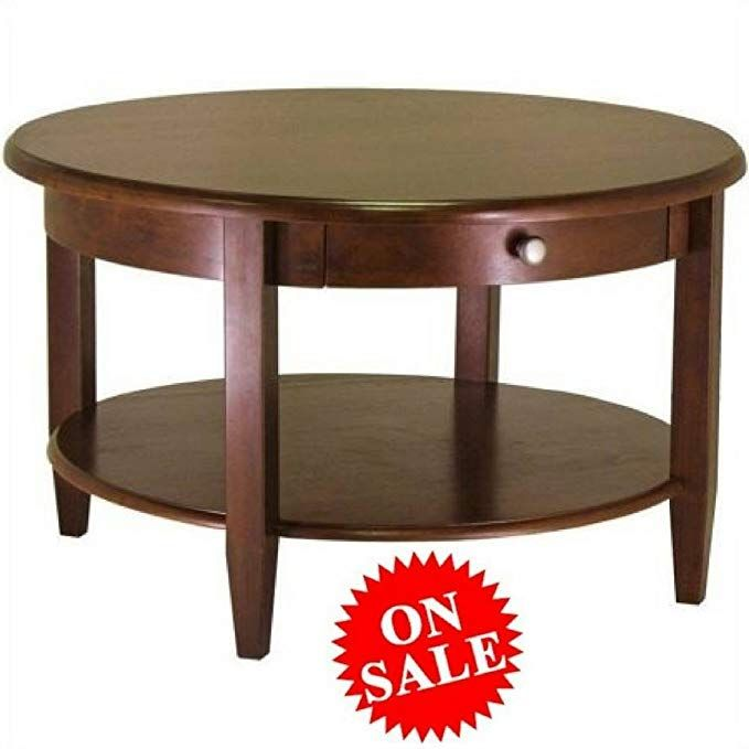 Antique Round Coffee Table With Drawer And Shelf Walnut Brown