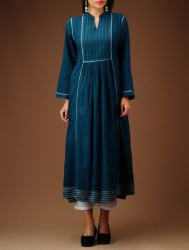 Indigo Embroidered Yoke Panelled Flared Cotton Kurta