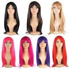 18'' Womens Full Long Fancy Dress Wigs Straight Cosplay Costume Ladies Wig Party