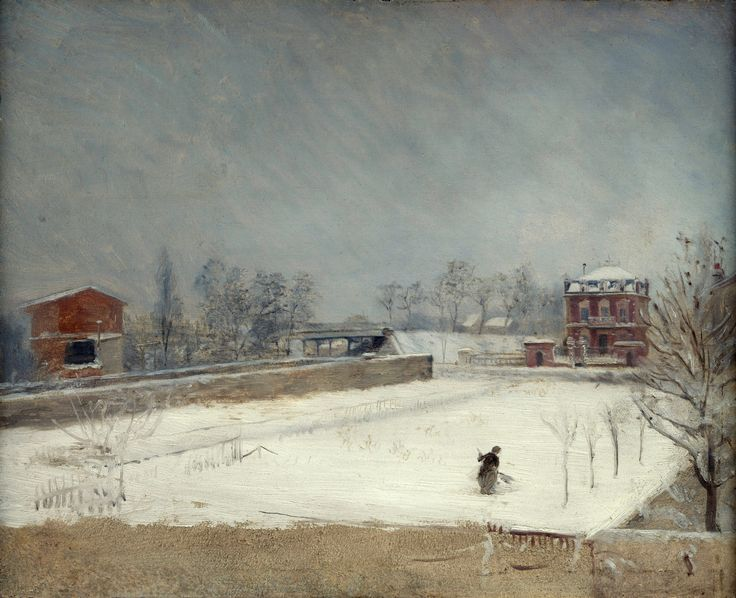 https://flic.kr/p/fqYki7   Giuseppe De Nittis - Winter Landscape [c.1880]   Under a leaden sky, a solitary female figure makes her way across a snow-covered garden plot. The garden appears to be walled on three sides, but is open on the fourth to a tall suburban villa. Like the garden, the house seems to be new. The setting may be a suburb of Paris. The sketch seems to have been painted from high up, perhaps from the upper window of a neighbouring house.  Trained in Naples, the Italian-born…