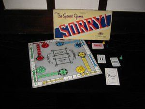 Sorry (1934) The goal of Sorry! is to be the first player to move all 4 tokens from the Start Home. Sorry! is played with cards instead of dice. I haven't found much info on the history of Sorry!, but Wikipedia states that the earliest variation of today's Sorry! can be traced back to England. Sorry! was adopted by Parker Brothers in 1934 and was based on an ancient Indian game named pachisi.