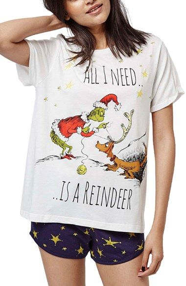 Free shipping and returns on Topshop 'The Grinch' Short Pajamas at Nordstrom.com. Dr. Seuss' iconic Christmas-hater ropes his dog along on his plan to stop Christmas on the front of this short-sleeve sleep tee. Star-print shorts complete the super-comfy PJ set that will make your heart grow three times larger.