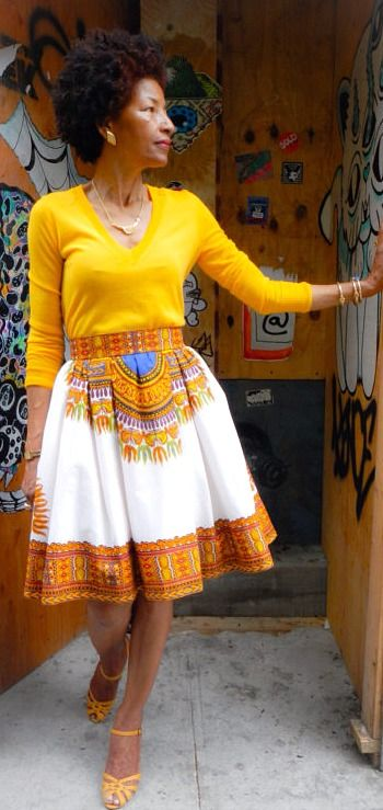 New! African Print Skirt, Lady Chang African Print Pleated Skirt: Off-White…