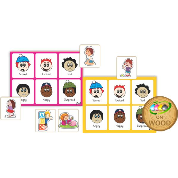 Emotions Matching Game  Develop early grouping and classification skills with this matching game. Explore different emotions by matching facial and body expressions to relevant images on baseboard.  24 Matching cards and 4 baseboards