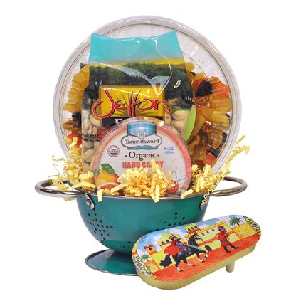 A Perfect Serving - kosher Purim gift basket, mishloach manot, shalach manos gifts basket with dried fruits, pistachios, organic candy, and blue colander