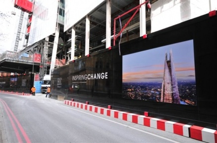 Hoarding design for the Shard building in London, by Octink. This angle shows the imagery they have used to reveal plans for the new building, the Shard. Again, it gives of a classy, modern, cutting edge feel.