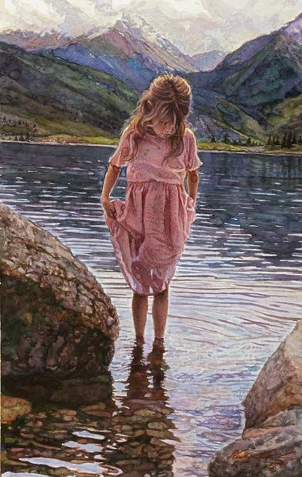 Original Painting, Reflections on the Lake by Steve Hanks