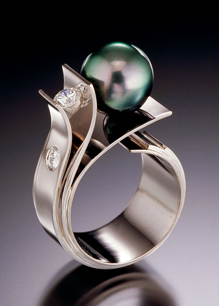Adam Neeley - Fiore Del Mare (Flower of the Sea) Ring. 14K White Gold with Diamonds & Tahitian Black Pearl. California. Circa Early-21st Century.