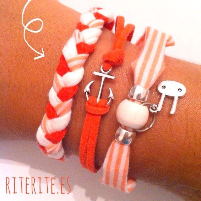 Combinación pulseras mandarina :: Accesorios y Diseño personalizado  Es un diseño exclusivo de Rite Rite por lo que no se puede reproducir tal cual. Respeta la creatividad de los demás. Gracias