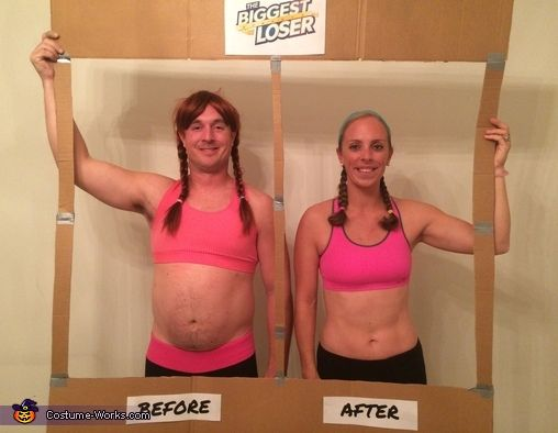 Jill: My husband and I dressed in matching workout gear, braided hair (his was a wig), and created a frame from cardboard. The frame was a before-and-after picture of a biggest...