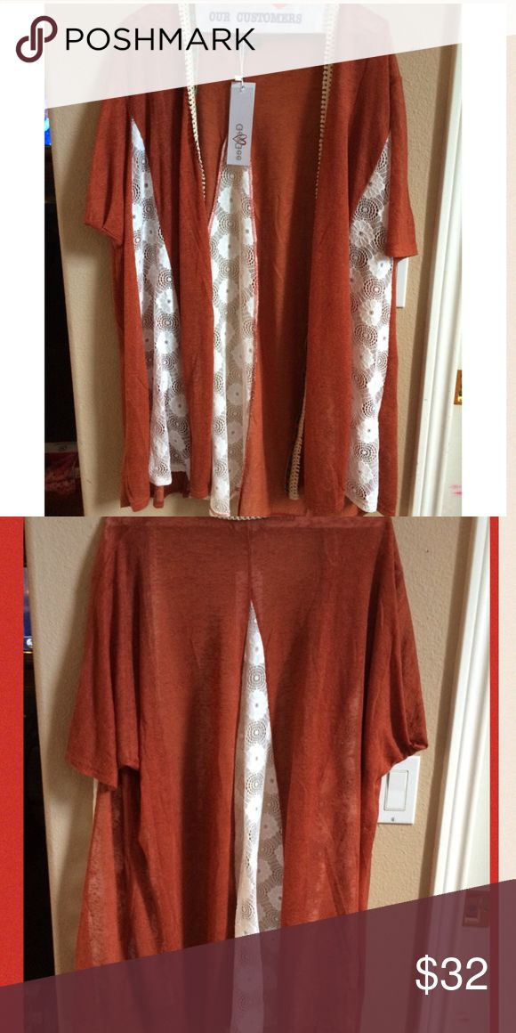 NWT RUST & WHITE KIMONO 🀄️RUST KIMONO with White lace detailing on front & back.  Excellent closet staple that adds layer, style & trend to spring, summer & vacation outfits.   BNWT.  One size fits all.  Will offer discounted pricing on two items add a 3rd for 20% off.  Offers via offer button 🔵 only please.  Free 🎁 with purchase. BOUTIQUE Sweaters