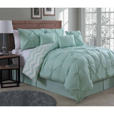 mint green and grey bedding - Google Search