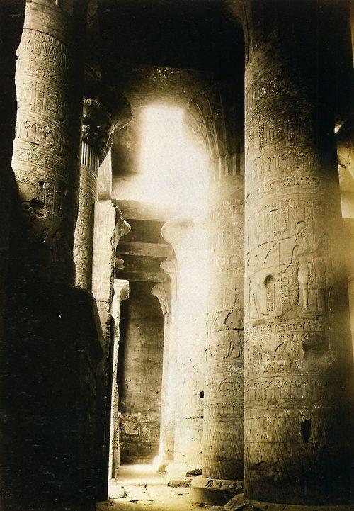 Interior of Temple of Horus, Edfu, Egypt (c.1862–68) – Felice Antonio Beato