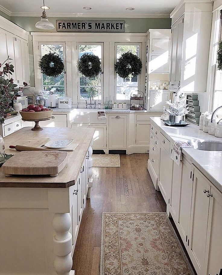"""1,817 Likes, 21 Comments - Cecelia (@thewelldressedhouse) on Instagram: """"Christmas farmhouse kitchen style!...Tag your bestie!.... credit: @my100yearoldhome . . . . .…"""""""