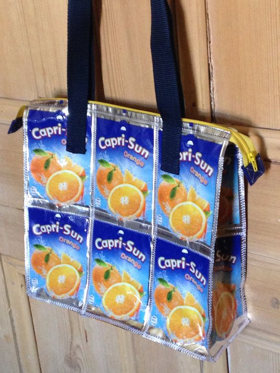 Capri Sun handbag | Recycled bag with zip | Beautiful practical tote | Upcycled…