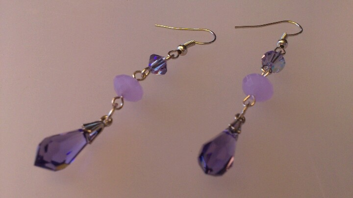 Color me purple dangle earrings with Swarovski Elements