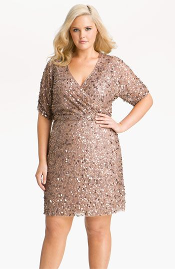 Okay, it's waaaayyyyyy too expensive - but it's definitely cute!    Aidan Mattox Sequin Surplice Mesh Dress (Plus) | Nordstrom
