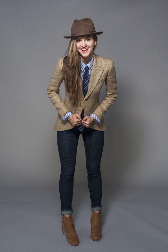 07edit. Tags: barefoot style, blazer, cap, elegance, footwear, girl, hat, ivy league, jacket, jeans, necktie, no socks, preppy, shirt, shoe, smart caual, sockless, suit, tie, tweed, without socks